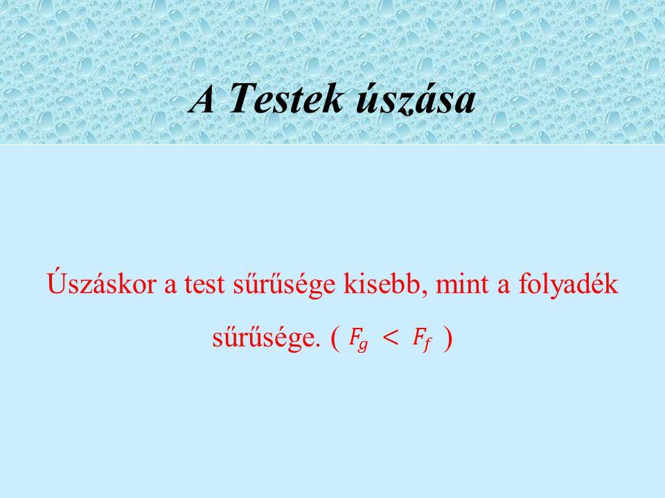 Úszáskor a test sűrűsége kisebb, mint a folyadék sűrűsége. ( )