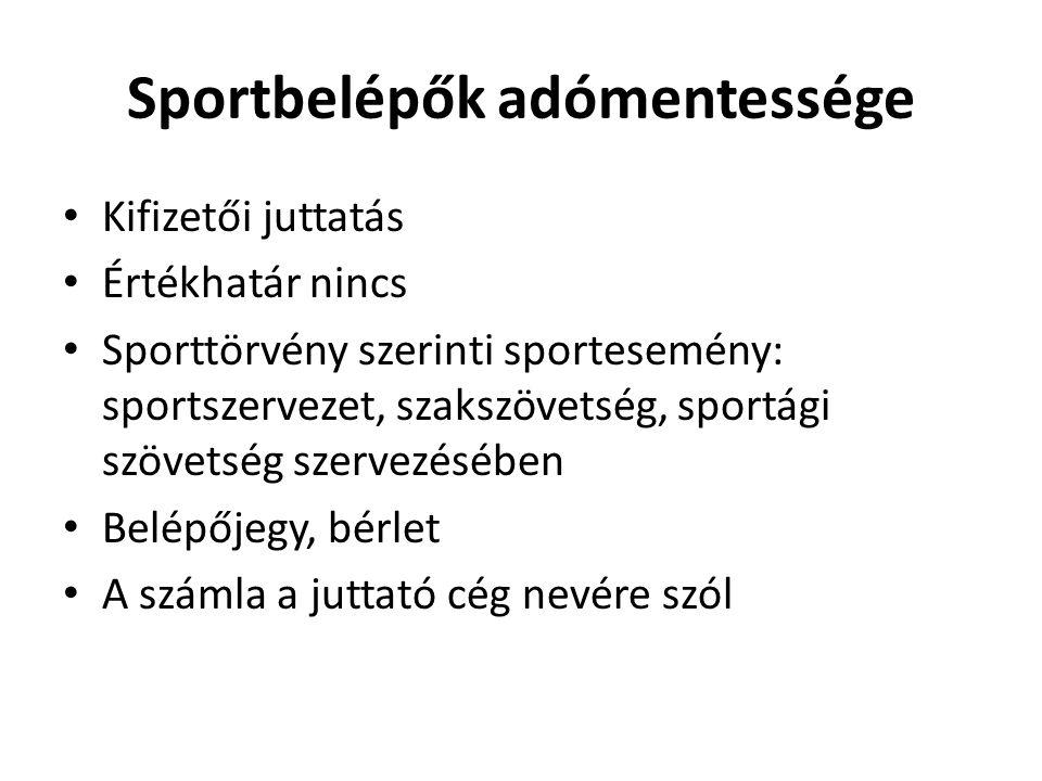 Sportbelépők adómentessége