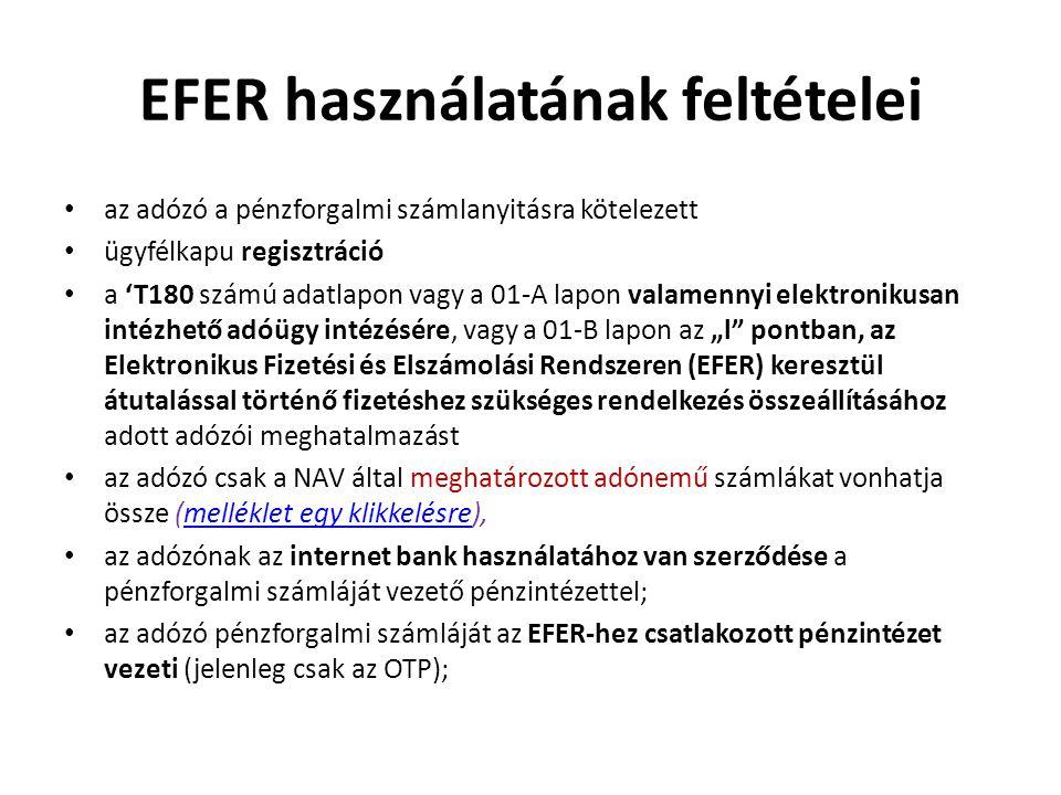 EFER használatának feltételei