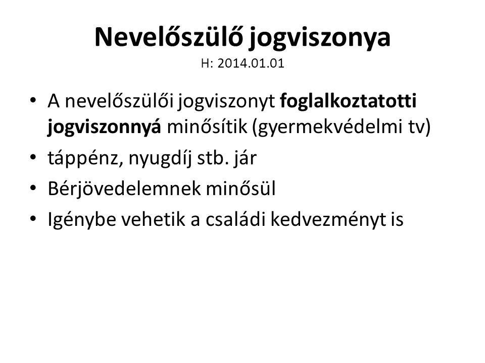 Nevelőszülő jogviszonya H: 2014.01.01