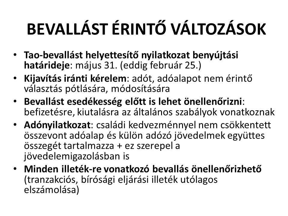 BEVALLÁST ÉRINTŐ VÁLTOZÁSOK