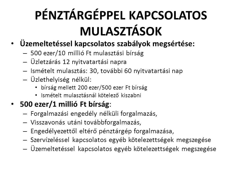 PÉNZTÁRGÉPPEL KAPCSOLATOS MULASZTÁSOK