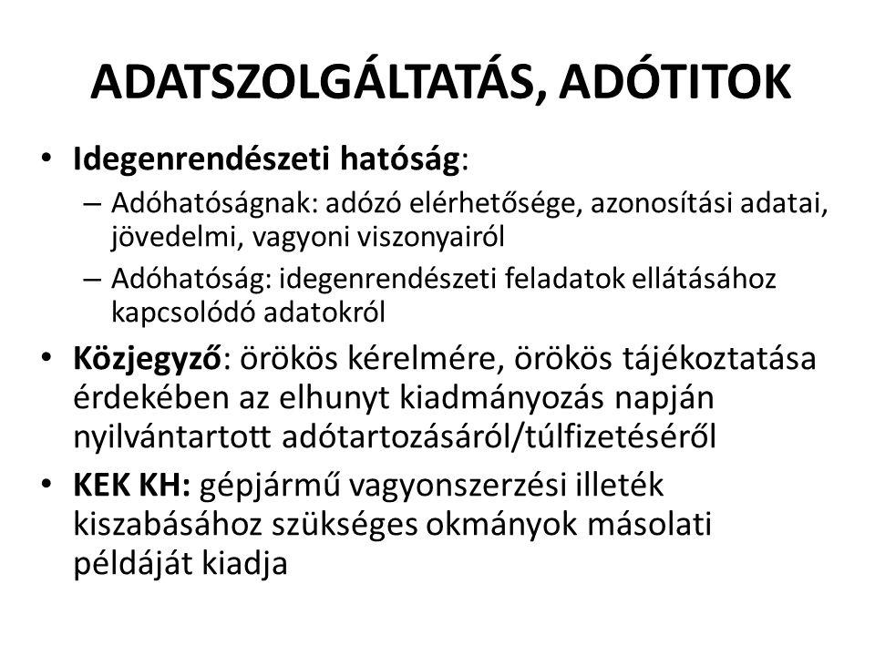 ADATSZOLGÁLTATÁS, ADÓTITOK