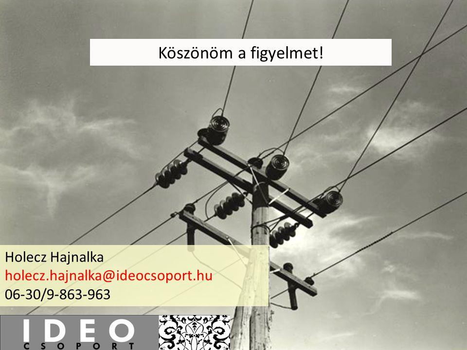 Köszönöm a figyelmet! Holecz Hajnalka holecz.hajnalka@ideocsoport.hu