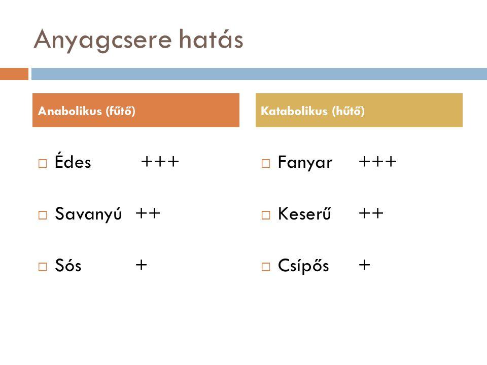 Anyagcsere hatás Édes +++ Savanyú ++ Sós + Fanyar +++ Keserű ++