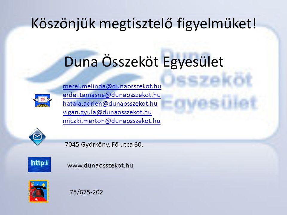 Köszönjük megtisztelő figyelmüket! Duna Összeköt Egyesület