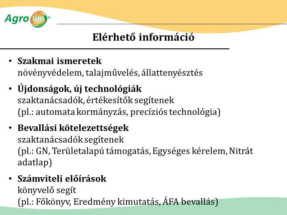 Elérhető információ Szakmai ismeretek növényvédelem, talajművelés, állattenyésztés.