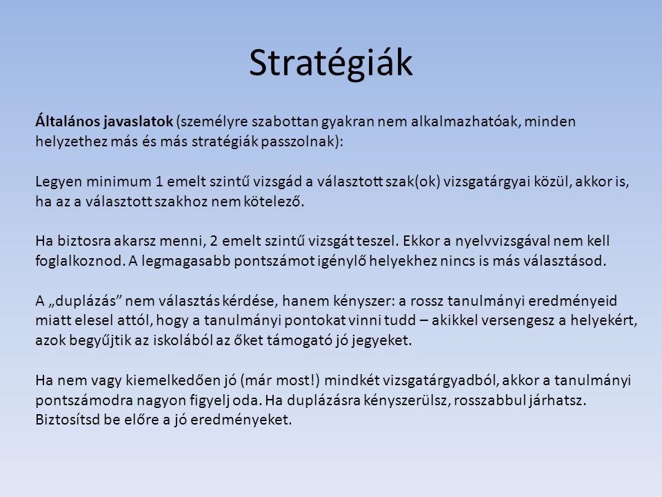 Stratégiák Általános javaslatok (személyre szabottan gyakran nem alkalmazhatóak, minden helyzethez más és más stratégiák passzolnak):
