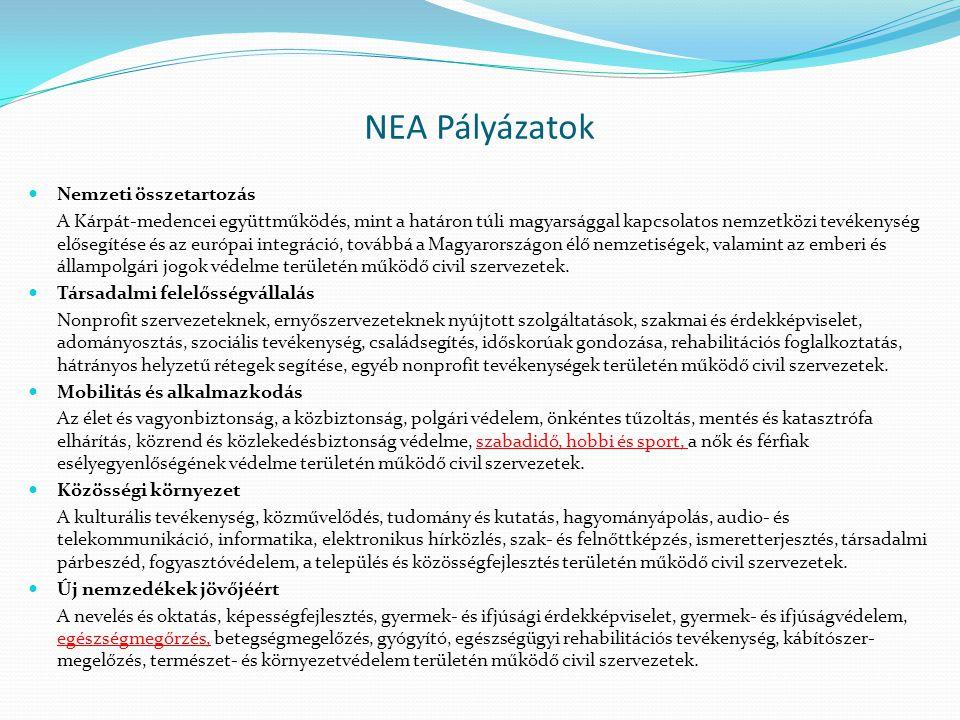 NEA Pályázatok Nemzeti összetartozás