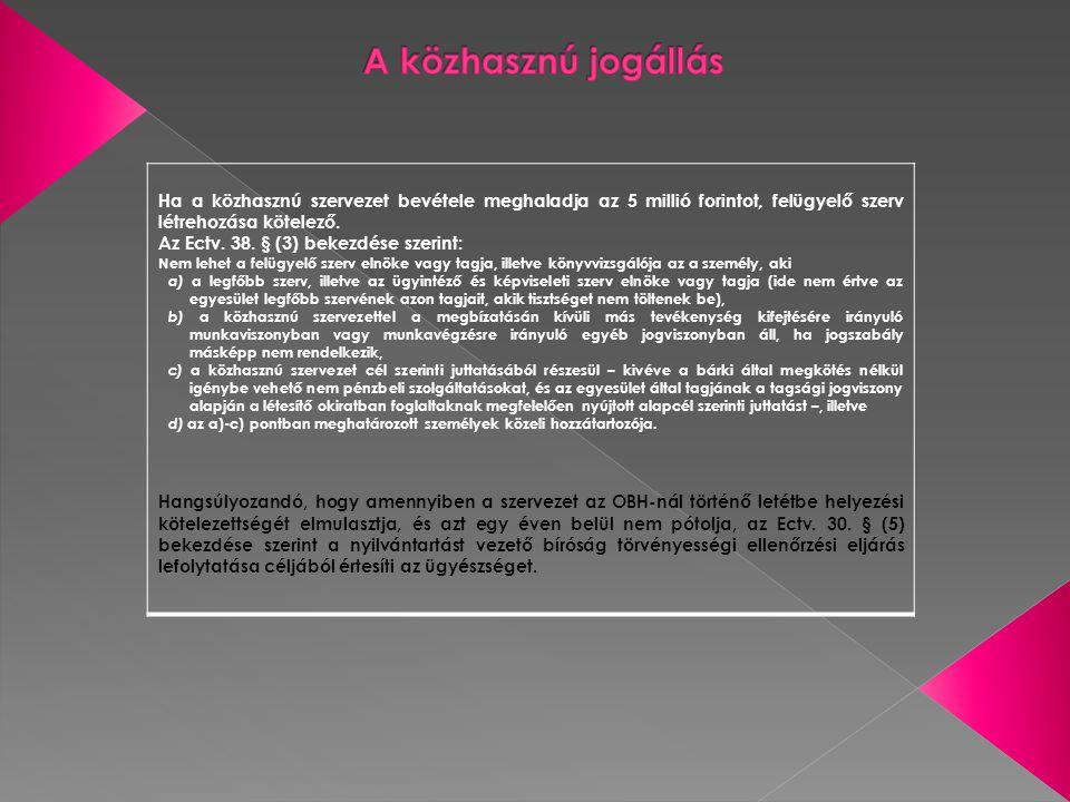 A közhasznú jogállás Ha a közhasznú szervezet bevétele meghaladja az 5 millió forintot, felügyelő szerv létrehozása kötelező.