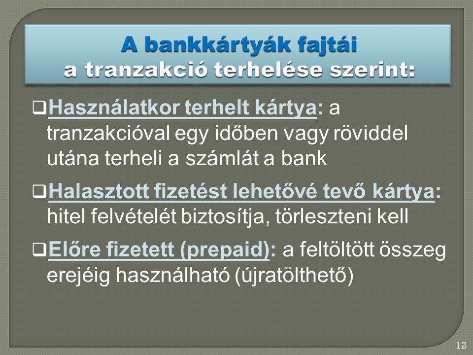 A bankkártyák fajtái a tranzakció terhelése szerint: