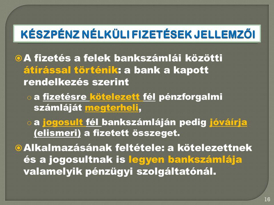 Készpénz nélküli fizetések jellemzői