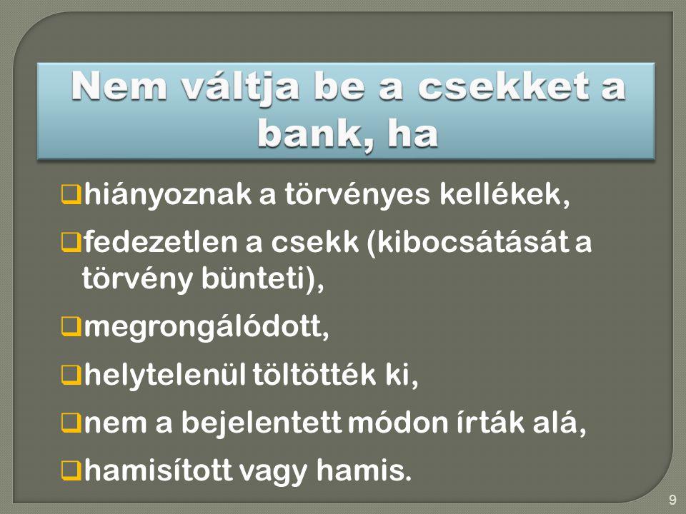 Nem váltja be a csekket a bank, ha