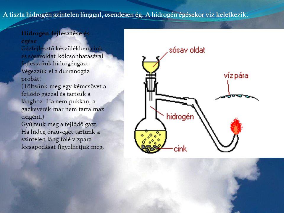 A tiszta hidrogén színtelen lánggal, csendesen ég