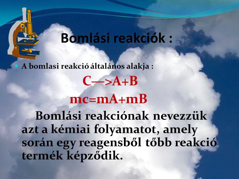 A Bomlási reakciók : C—>A+B mc=mA+mB