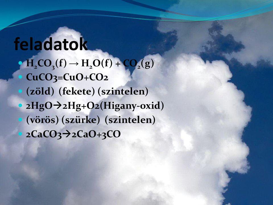 feladatok H2CO3(f) → H2O(f) + CO2(g) CuCO3=CuO+CO2
