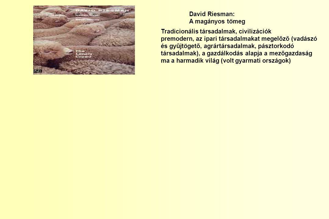 David Riesman: A magányos tömeg. Tradicionális társadalmak, civilizációk.