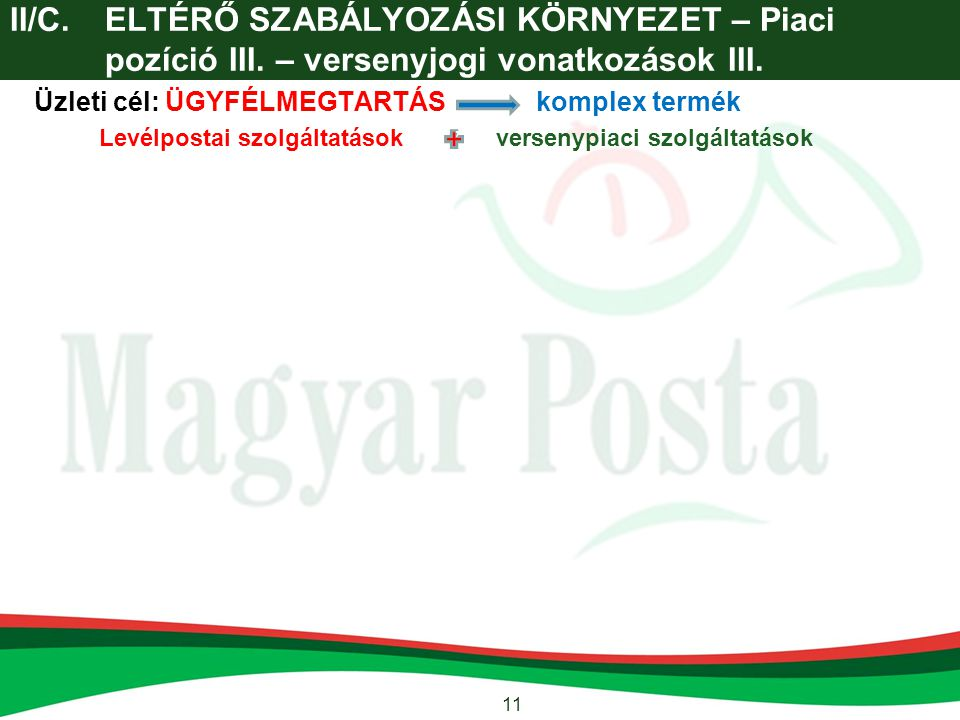 II/C. ELTÉRŐ SZABÁLYOZÁSI KÖRNYEZET – Piaci pozíció III