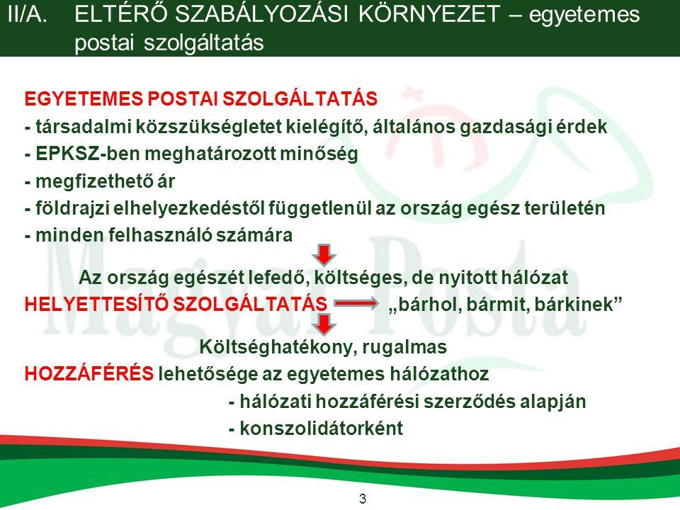 II/A. ELTÉRŐ SZABÁLYOZÁSI KÖRNYEZET – egyetemes postai szolgáltatás