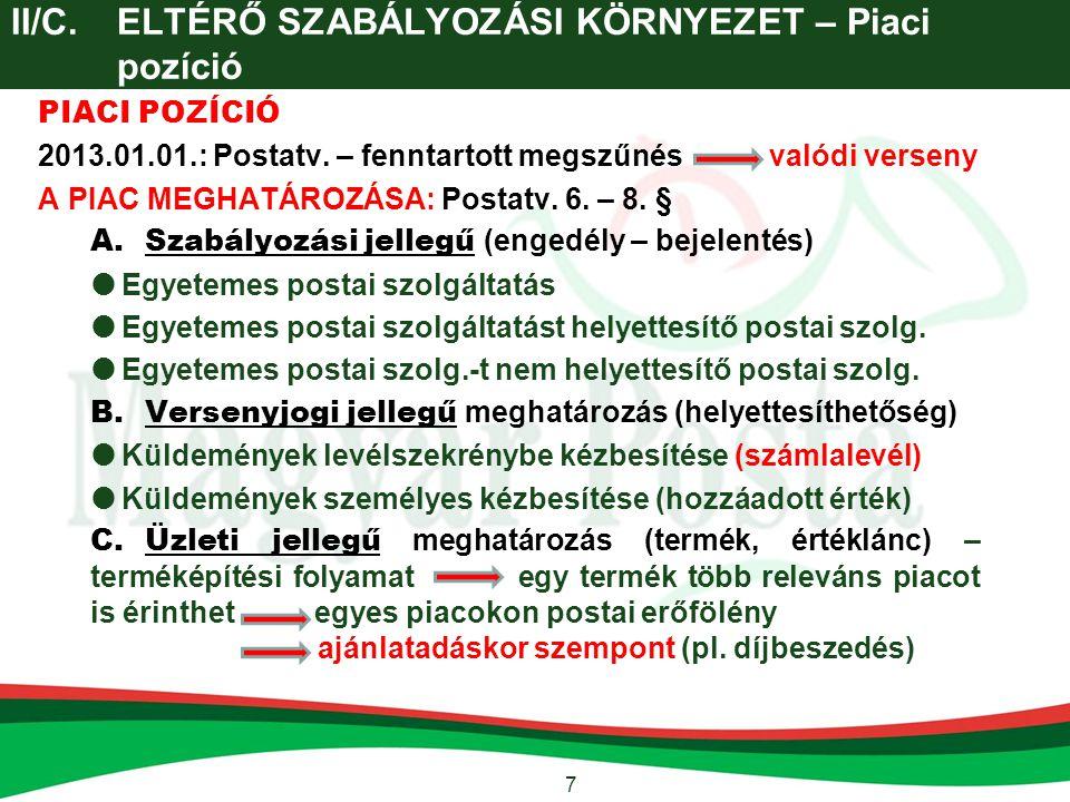 II/C. ELTÉRŐ SZABÁLYOZÁSI KÖRNYEZET – Piaci pozíció