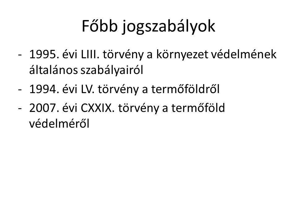 Főbb jogszabályok 1995. évi LIII. törvény a környezet védelmének általános szabályairól. 1994. évi LV. törvény a termőföldről.