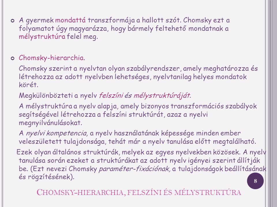 Chomsky-hierarchia, felszíni és mélystruktúra