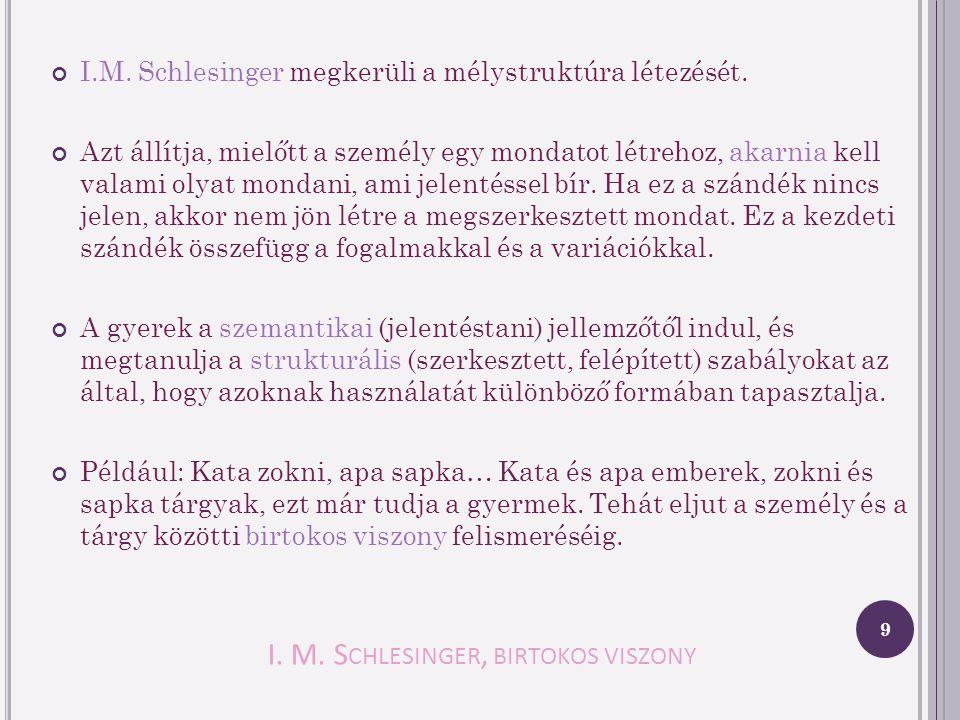 I. M. Schlesinger, birtokos viszony