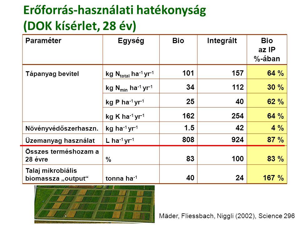 Erőforrás-használati hatékonyság (DOK kísérlet, 28 év)