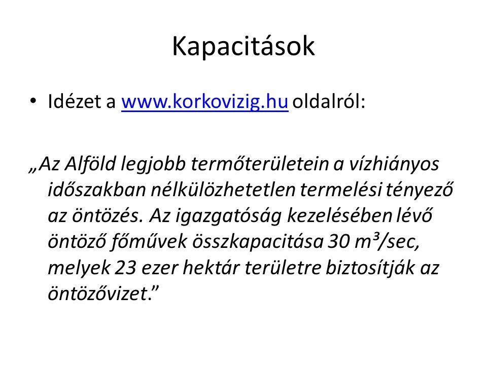 Kapacitások Idézet a www.korkovizig.hu oldalról: