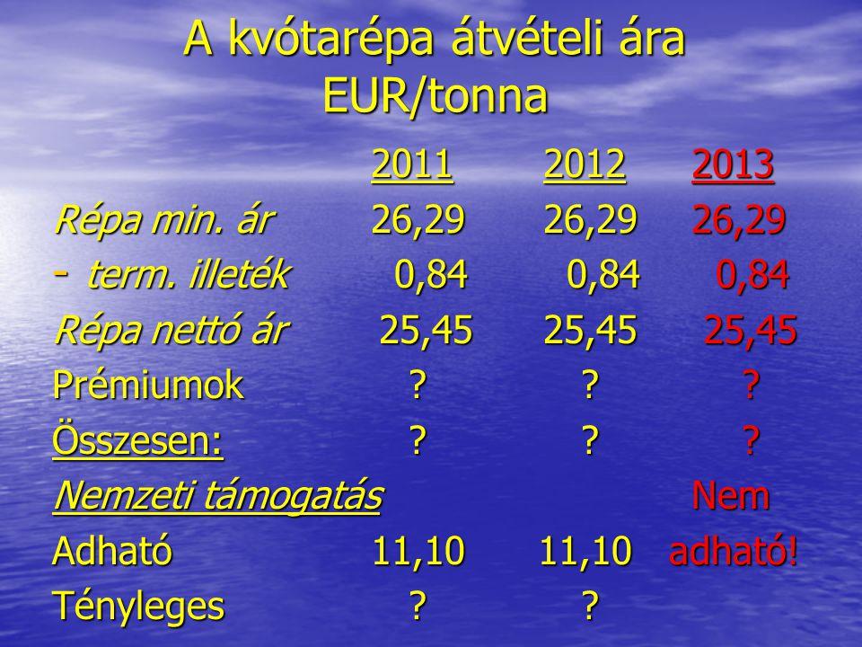 A kvótarépa átvételi ára EUR/tonna