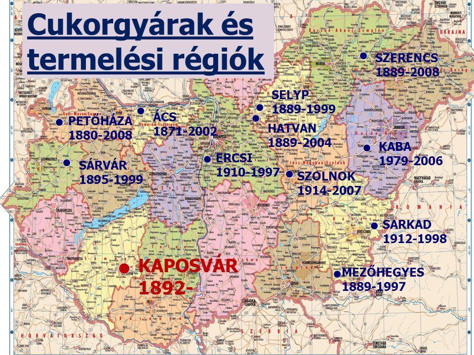 Cukorgyárak és termelési régiók