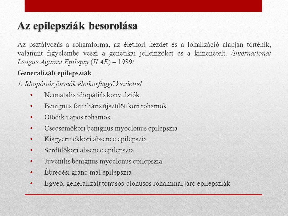 Az epilepsziák besorolása