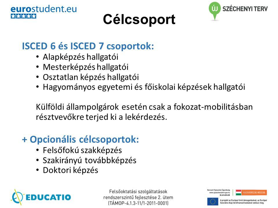 Célcsoport ISCED 6 és ISCED 7 csoportok: + Opcionális célcsoportok: