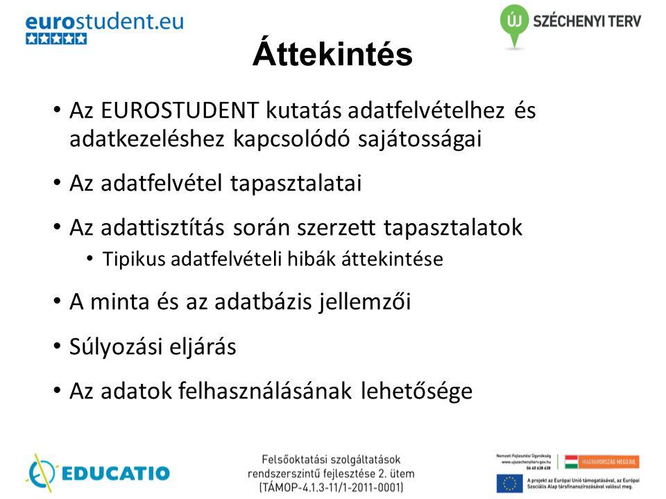 Áttekintés Az EUROSTUDENT kutatás adatfelvételhez és adatkezeléshez kapcsolódó sajátosságai. Az adatfelvétel tapasztalatai.