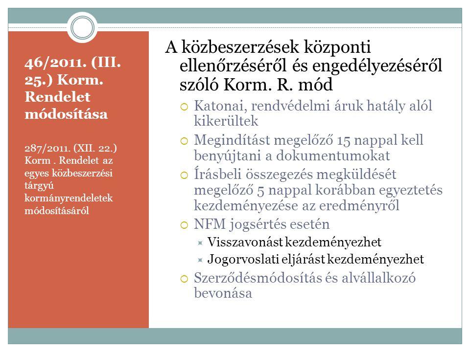 46/2011. (III. 25.) Korm. Rendelet módosítása