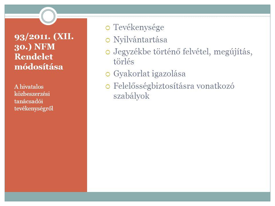 93/2011. (XII. 30.) NFM Rendelet módosítása
