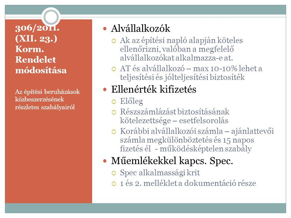 306/2011. (XII. 23.) Korm. Rendelet módosítása