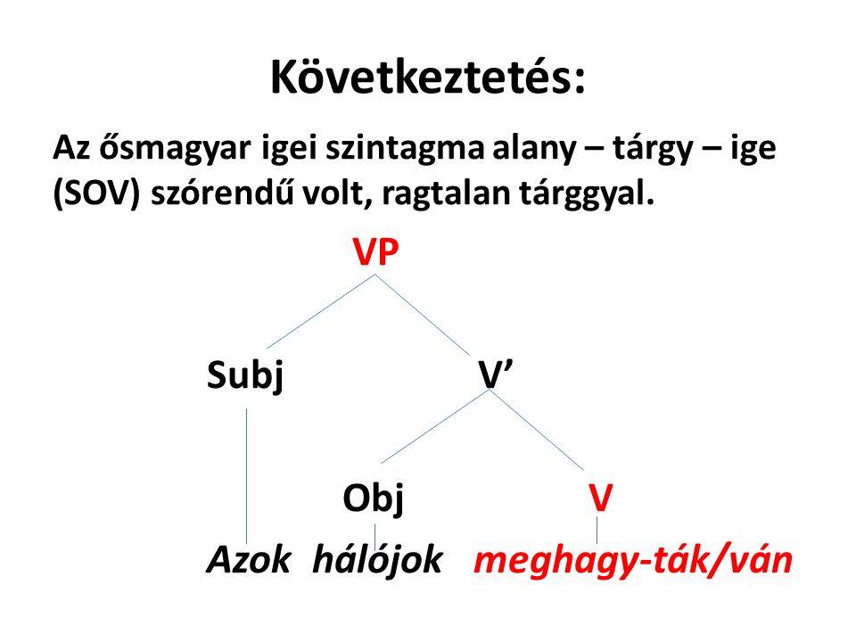 Következtetés: VP Subj V' Obj V Azok hálójok meghagy-ták/ván