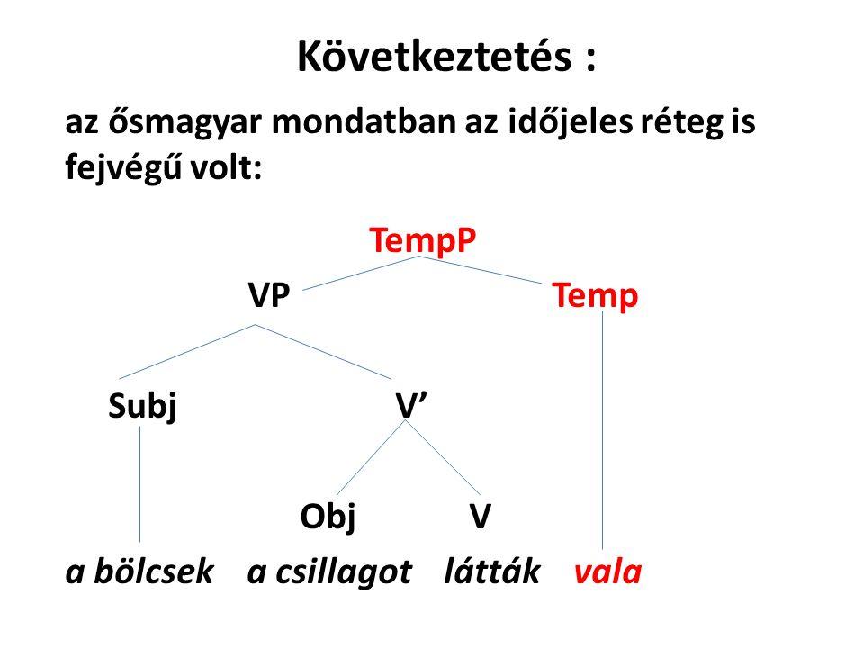 Következtetés : az ősmagyar mondatban az időjeles réteg is fejvégű volt: TempP VP Temp Subj V' Obj V a bölcsek a csillagot látták vala