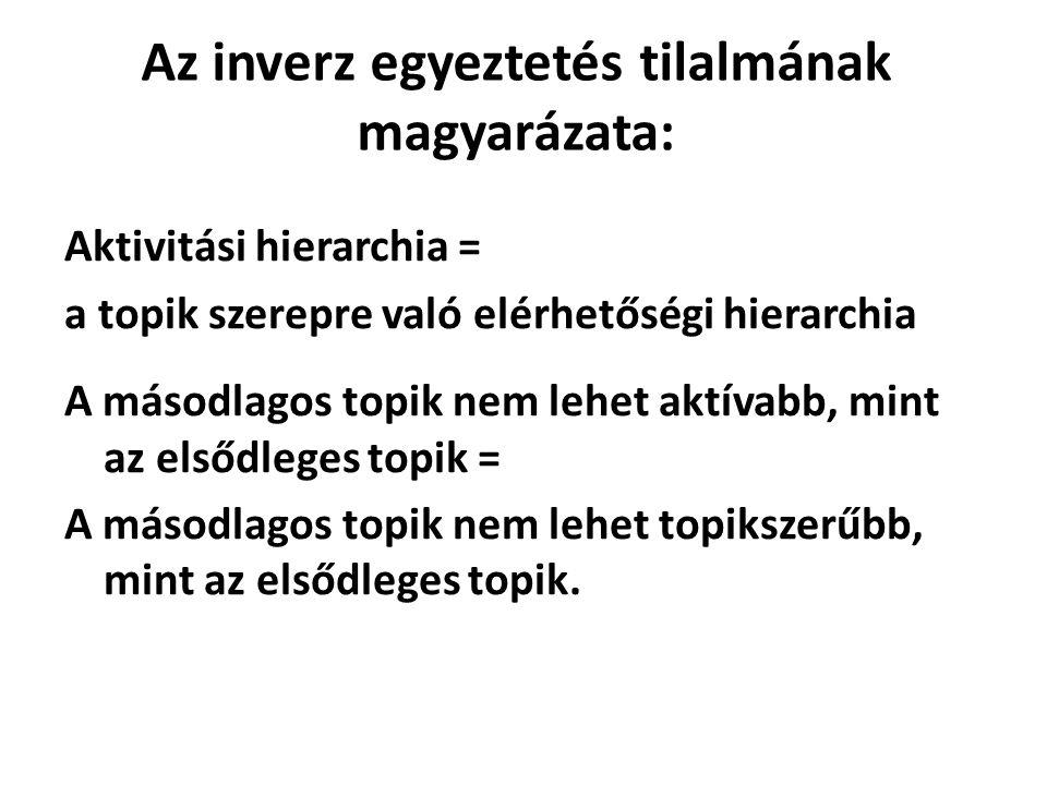 Az inverz egyeztetés tilalmának magyarázata: