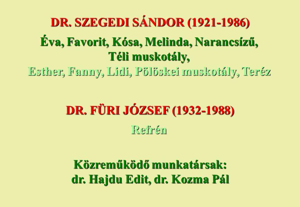 Közreműködő munkatársak: dr. Hajdu Edit, dr. Kozma Pál