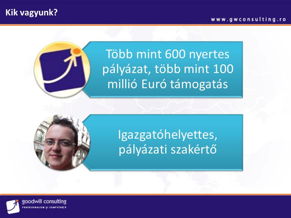 Kik vagyunk. Több mint 600 nyertes pályázat, több mint 100 millió Euró támogatás.