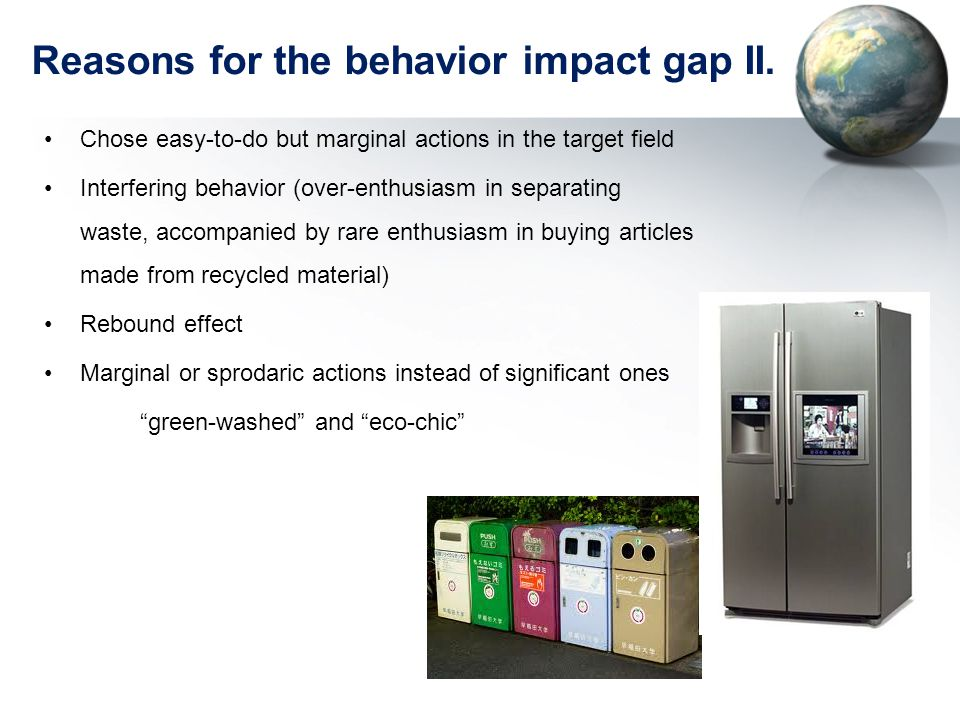 Reasons for the behavior impact gap II.