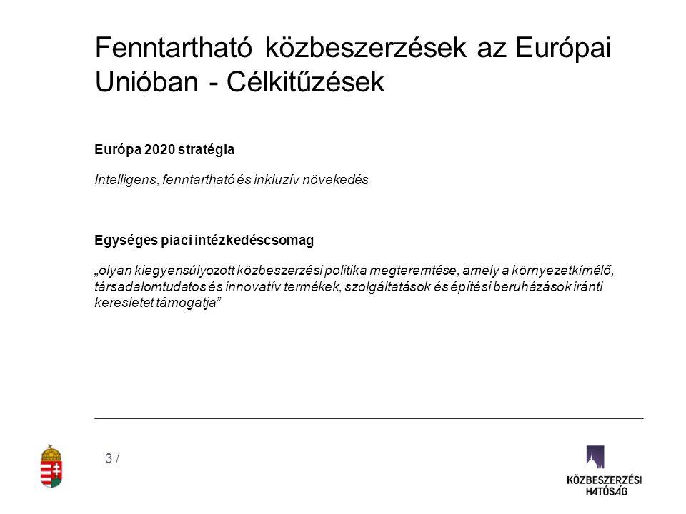 Fenntartható közbeszerzések az Európai Unióban - Célkitűzések