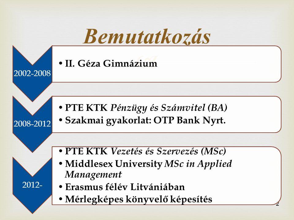 Bemutatkozás II. Géza Gimnázium PTE KTK Pénzügy és Számvitel (BA)