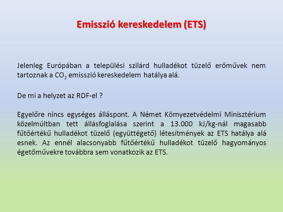 Emisszió kereskedelem (ETS)