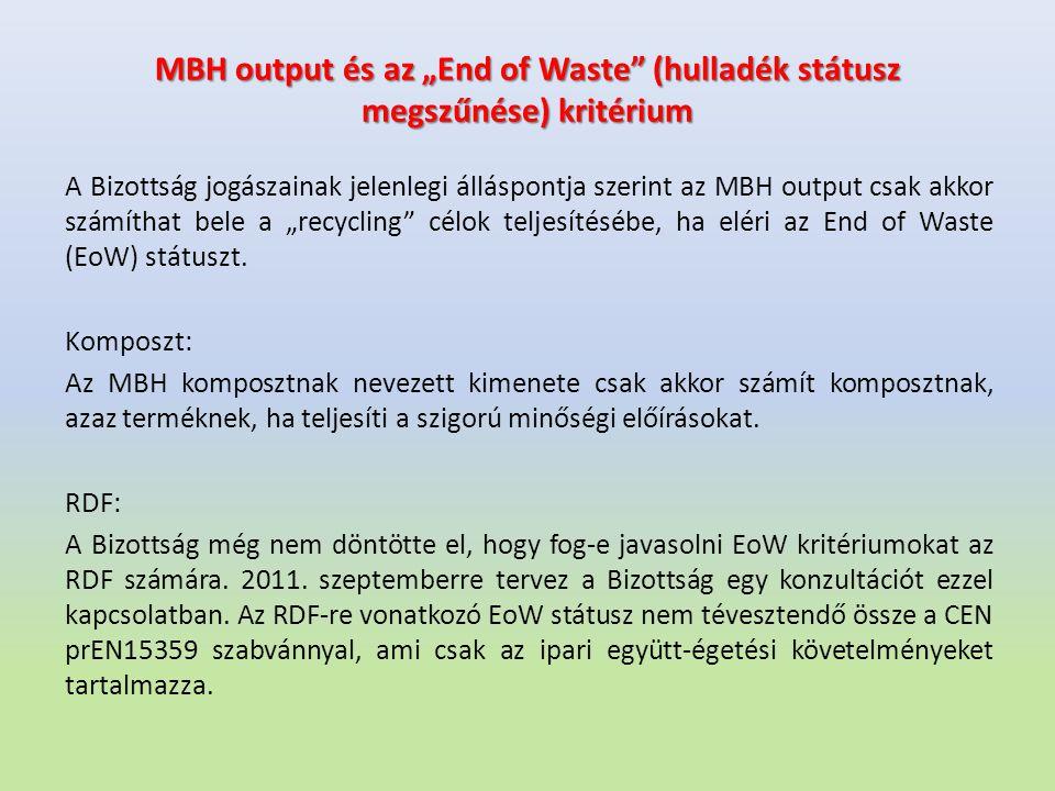 """MBH output és az """"End of Waste (hulladék státusz megszűnése) kritérium"""
