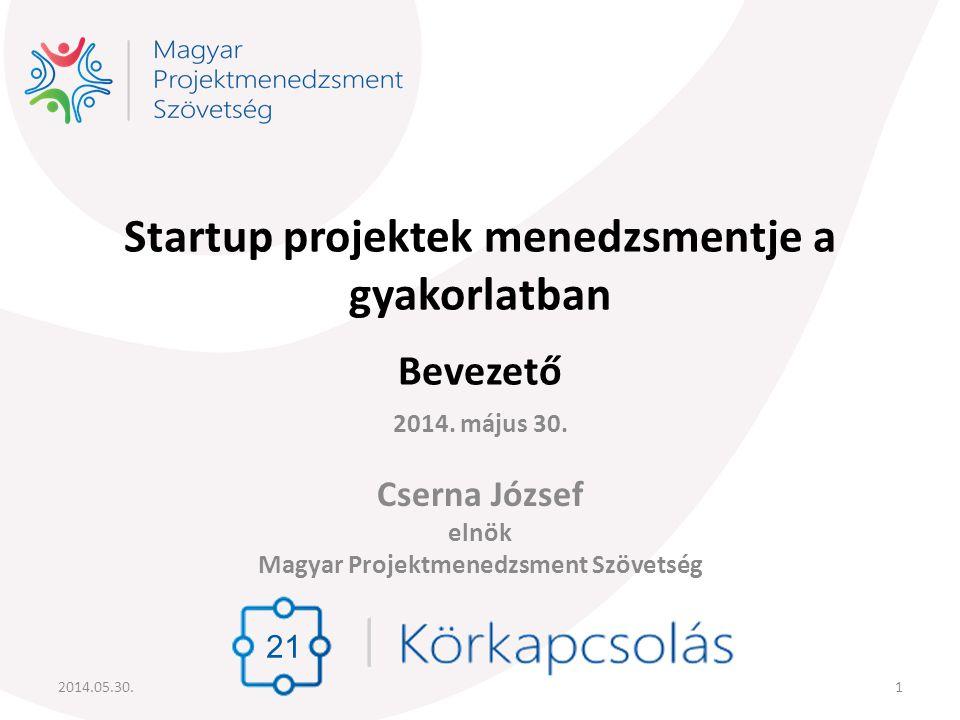 Startup projektek menedzsmentje a gyakorlatban Bevezető
