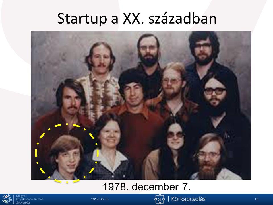 Startup a XX. században 1978. december 7. 2014.05.30.