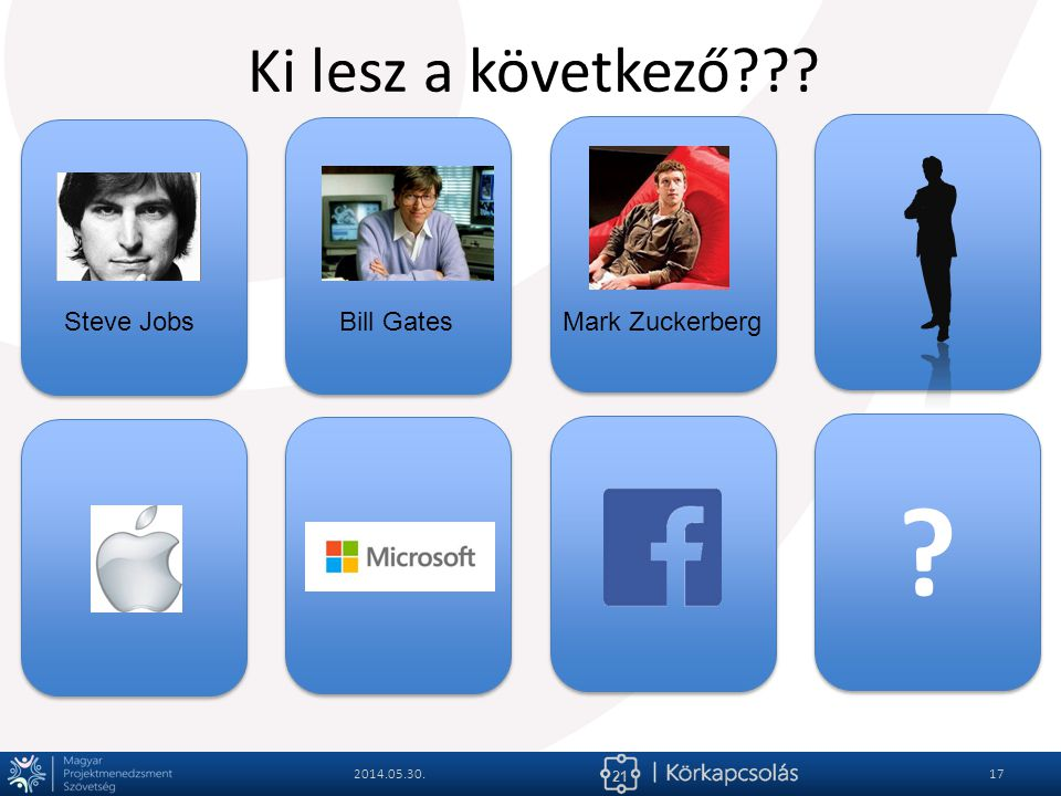 Ki lesz a következő Steve Jobs Bill Gates Mark Zuckerberg